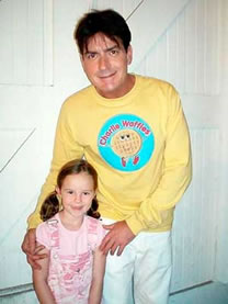 Lexi with Charlie Sheen on TWO AND A HALF MEN